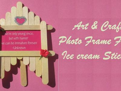 Craft Ideas - Make Photo Frame From Ice cream Sticks - Easy Art & Craft