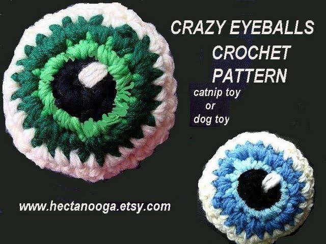 Crazy Eyeball - crochet pattern, how to diy, catnip toy, dog toy, juggling balls, funny crochet
