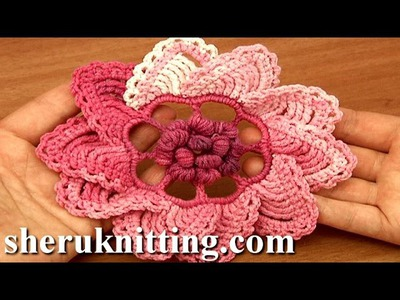 Crochet 3D Puff Stitch Center Flower Tutorial 91