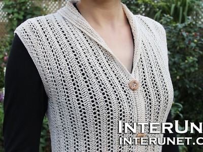 Crochet a collared cardigan vest lace jacket - ear of wheat stitch