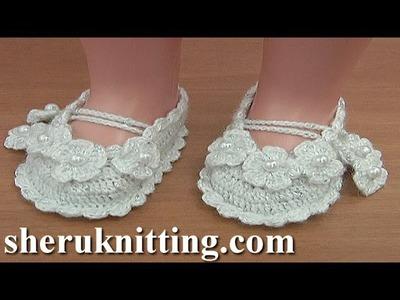 Crochet Christening Shoes Tutorial 36 Part 1 of 2 Sandalias en crochet para bebes