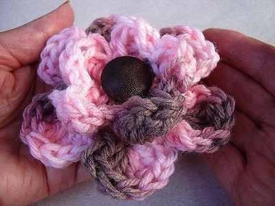 Crochet flower pattern, pink multicolor rose