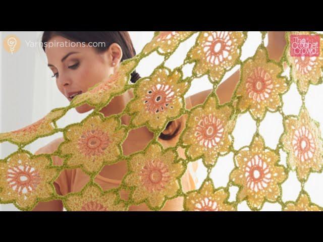 Crochet Garden Flowers Shawl