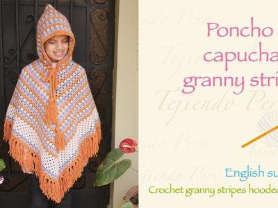 Crochet granny stripes hooded poncho. Paso a paso a crochet: poncho con capucha en granny stripes