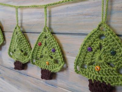 (crochet) How To - Christmas Tree Bunting