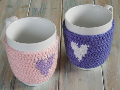 (crochet) How To Crochet a Heart Mug Warmer.Cup Cozy - Yarn Scrap Friday