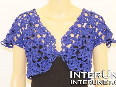Crochet ipheion stitch lace motif bolero
