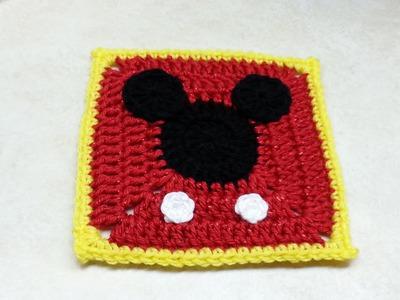 #Crochet Mickey Mouse Granny Square #TUTORIAL