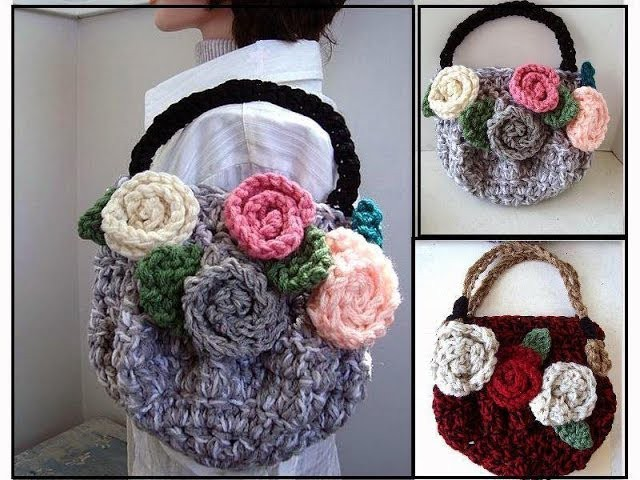 CROCHET PURSE, chunky style bag or purse with flowers, CROCHET PATTERN, how to diy, video tutorial