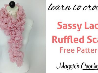 Crochet Ruffled Scarf Sassy Lace Red Heart Yarn - Right Handed