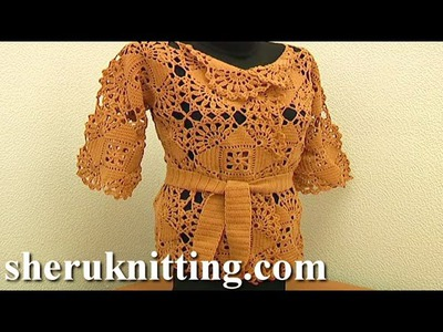 Crochet Seamless Square Motif Cardigan Free Pattern Tutorial 5 Part 1 of 2 Crochet Square Motif