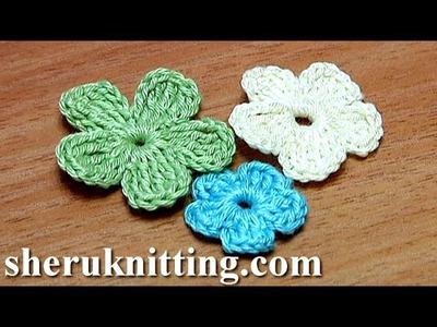 Crochet Small Flat Five-Petal Flower Tutorial 26 Part 2 of 2 דפוסי הסרוגה פרח
