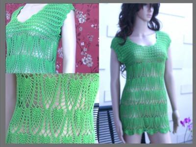 Crochet Summer Dress Tutorial Part 4 of 4 (Crochet the lower part. Pineapple Pattern)