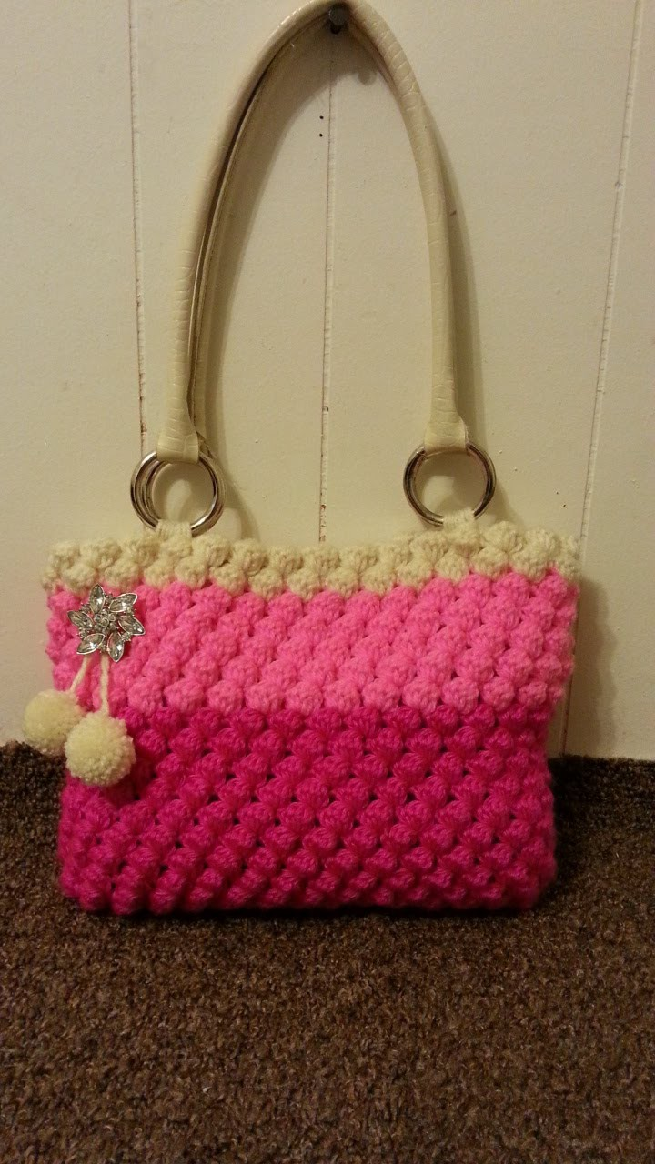 #Crochet womens Bobble Bag Purse #TUTORAL Crochet ladies handbag DIY Crochet adult