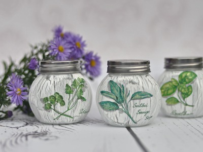 DECOUPAGE jars for spices - tutorial DIY