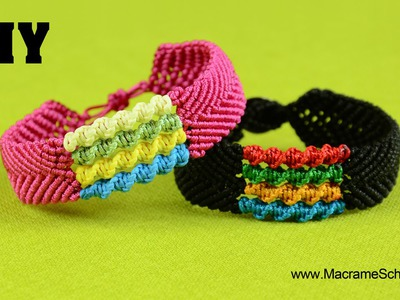 DIY Chevron Bracelet with Spiral Stripes - Macramé Tutorial