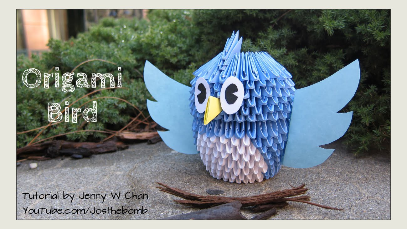 DIY How to Fold 3D Modular Origami Bird - Step-by-Step Tutorial - Summer Crafts. Easter Crafts