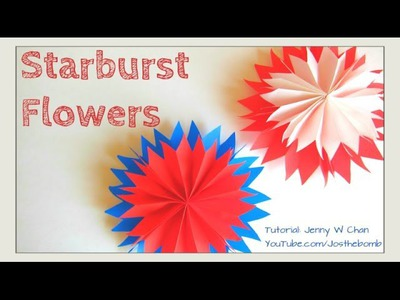 DIY How-To: Starburst Paper Flowers - Paper Fan Flowers Tissue. Paper Craft, Summer.July 4th Idea