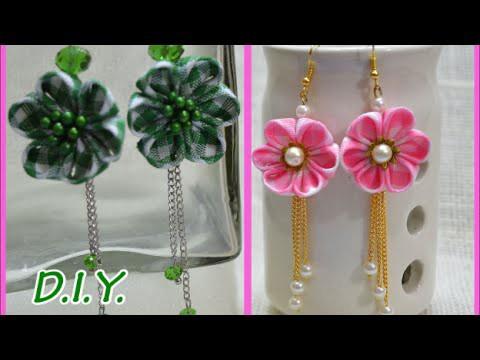❃ ❁ ❀ D.I.Y. Kanzashi Flower Earings - Tutorial ❀ ❁ ❃