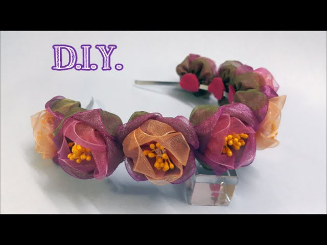 ❁❁❁ D.I.Y. Organza Ombre Flower Crown - Tutorial ❁❁❁