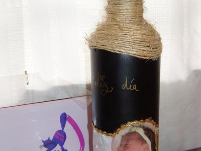 DIY, Tutorial botella decorada, un original regalo para papá.