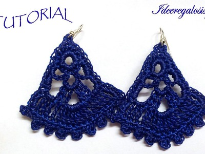 DIY TUTORIAL ENG.ITA ORECCHINI uncinetto VENTAGLIO PARTE 1 DI 2 HOW TO CROCHET EARRINGS