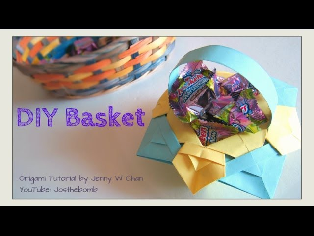 Easter Crafts - Easter Basket - How to Fold Origami Basket - Paper Crafts Kids