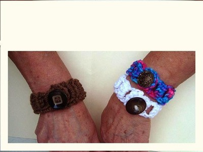 Easy button up crocheted bracelet, video tutorial.  How to diy.