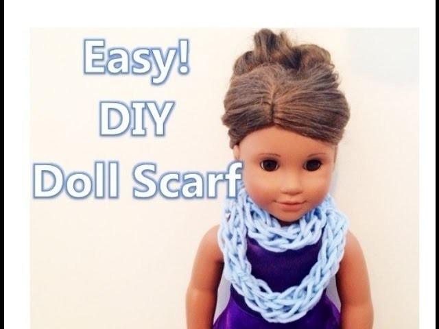 Easy! DIY Doll Scarf *HD (finger knitting tutorial)