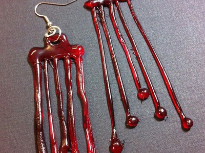 HALLOWEEN CRAFT: Hot Glue Blood Drip Earrings || DIY Halloween Earrings