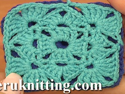 How To Crochet Granny Square Motif Tutorial 5 part 1 of 2 Motif Joining