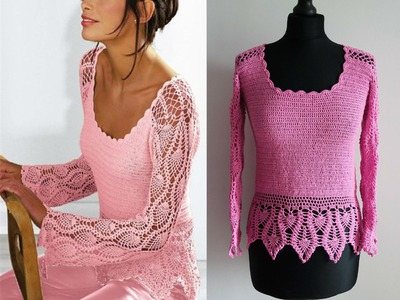 How to crochet pink pineapple lace pullover free tutorial by marifu6a