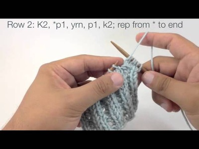 How to Knit the Eyelet Mock Cable Ribbing Stitch (English Style)