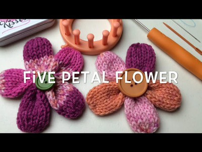 How to Loom Knit a Flower | Five Petal Flower pattern by Denice Johnson