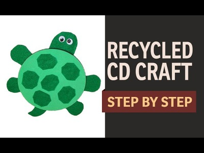 "How to make a CD Turtle WASTE CD Craft Ideas - "" Recycled Art and Craft Ideas"" (English)"
