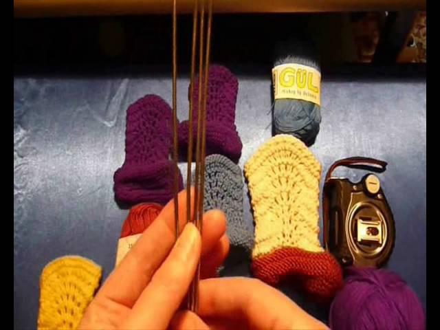 Как связать пинетки-сапожки спицами - 1. How to knit baby booties shoes - 1