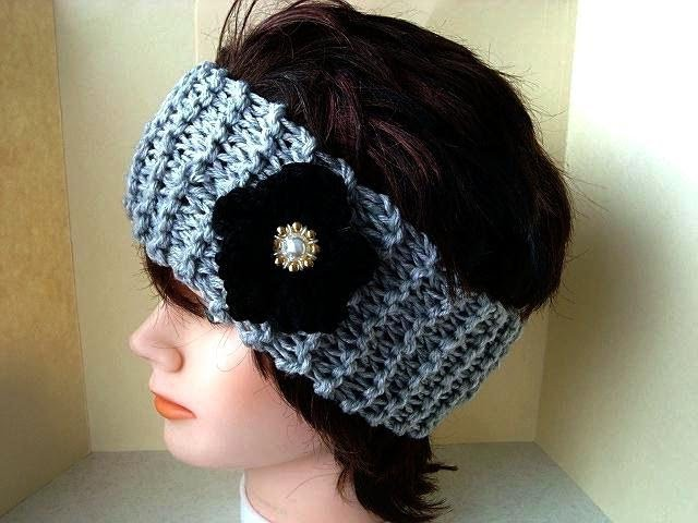 Knitting pattern, HEADBAND AND BLACK FLOWER, free video tutorial, how to diy,