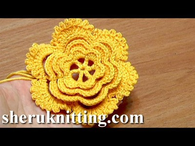 Layered Crochet Flower Tutorial 24 Part 1 of 2 鉤針花圖案