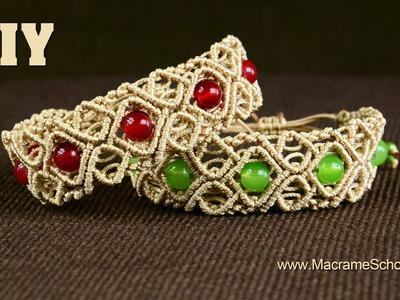 Macramé Diamond Square Bracelet with Beads [DIY] Tutorial