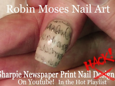 Nail art Tutorial   DIY EASY Sharpie Nails   Newspaper Nail Design