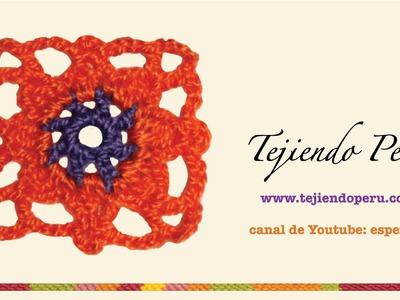 Pastilla cuadrada en crochet # 3 (granny square)