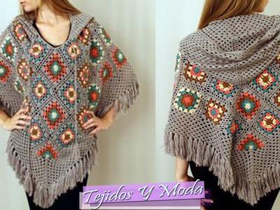 Poncho Tejido a Crochet - Hermosos Diseños