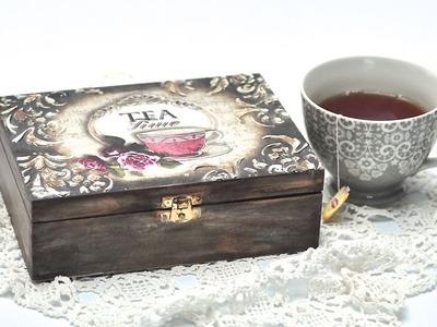 Pudełko na herbatę decoupage DIY tutorial