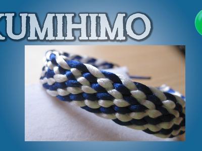Pulsera azul y blanca | Kumihimo | DIY | Tutorial