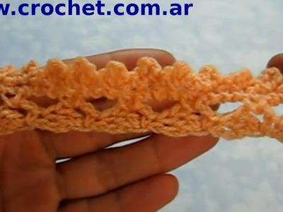 Puntilla N° 10 en tejido crochet tutorial paso a paso.