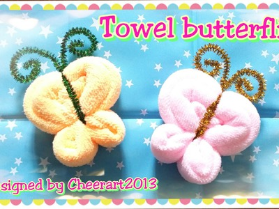 Towel fold craft - Towel butterfly tutorial摺毛巾手工教學 - 毛巾蝴蝶教學
