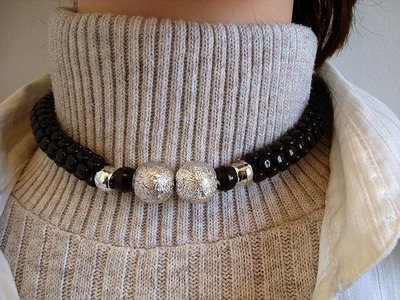 TRI-BEADS CHOKER NECKLACE, how to diy, jewelry making, beading