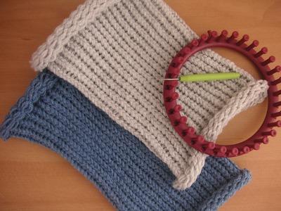 Tutorial facile scaldacollo berretto punto inglese con telaietto circolare per lana - Knitting Loom