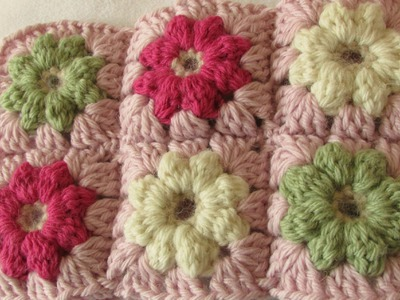 VERY EASY crochet mini puff stitch flower baby blanket tutorial
