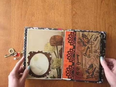 8x6 Scrapbook Mini Album with Stitched and Beaded Binding (Steampunk Botanica)